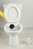 Woman uses a plunger to unclog a toilet bowl in a bathroom