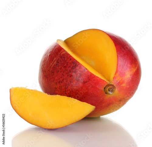Ripe appetizing mango isolated on white