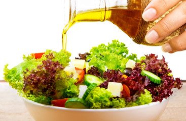 Fresh salad with olive oil