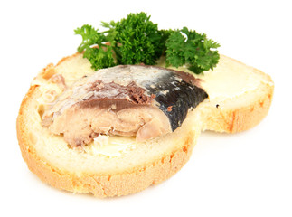Tasty sandwich with scomber, isolated on white