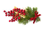 Christmas holly branch decoration