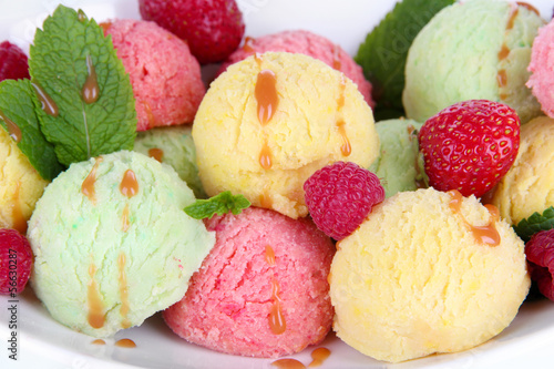 Delicious ice cream closeup