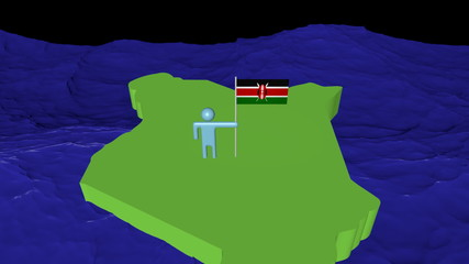 Man with flag on Kenya map in ocean animation