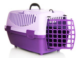 Pet travel plastic cage isolated on white