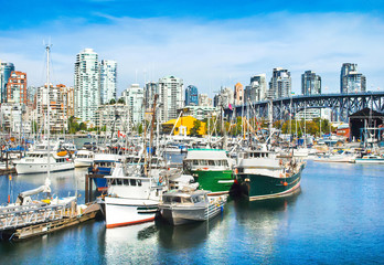 Vancouver skyline with harbor and Granville bridge, BC, Canada