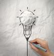 light bulb crumpled paper in pencil light bulb