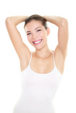 Armpit epilation hair removal woman showing armpits
