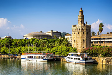 View of Golden tower (Torre del Oro) of Seville,  Spain.