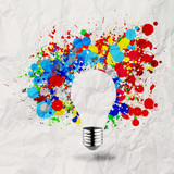 invisible light bulb and splash colors on crumpled paper
