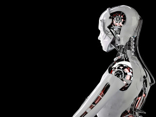 robot android men background