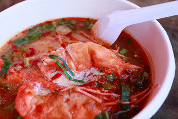 Tom Yam Koong soup with noodles