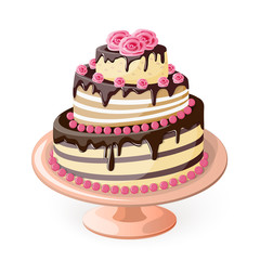 cake tier with roses