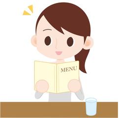 飲食店で注文をする女性 上半身