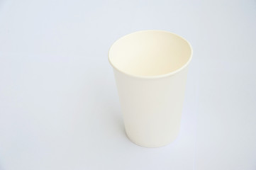 A white coffee cup made from cup stock paper