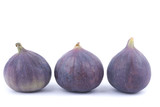 Three figs on a white background.