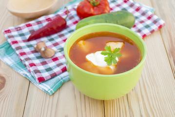 Red beet soup (borscht).