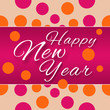 Happy New Year Peach Pink Dots