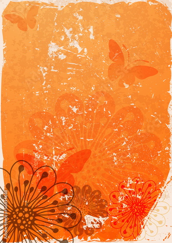 Grunge paper with butterflies