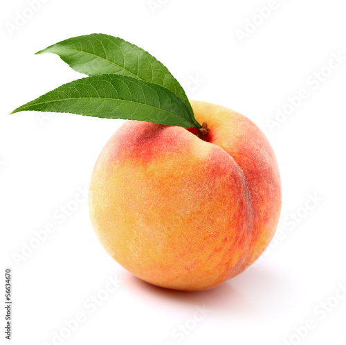 One ripe peaches with leaves
