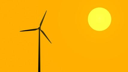 Generatore eolico al tramonto