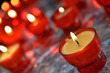 Firing candles in catholic church closeup image