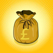 British Pound Sterling Gold Bag of Money Save for Success.