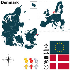 Map of Denmark with European Union