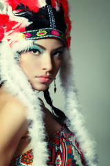 Beautiful young woman native American Indian