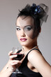 Beautiful woman in veil retro glamour beauty portrait with wine