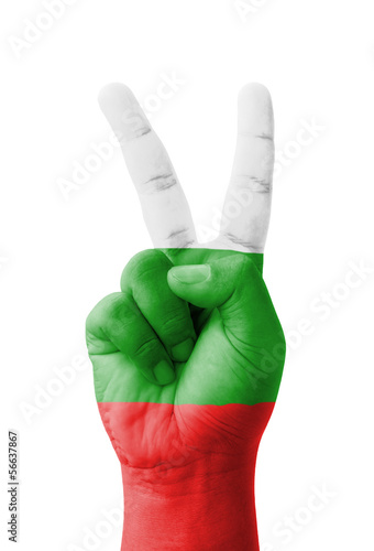 Hand making the V sign, Bulgaria flag painted