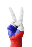 Hand making the V sign, Czech Republic flag painted