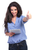 casual woman with tablet shows thumb up