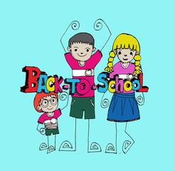 cartoon back to school kids education objects