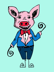 cartoon animals and pig in Jaidee Family Style
