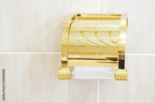 Gilded holder with roll of soft white toilet paper in bathroom.