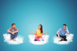 three casual young people sitting on clouds