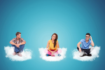 sitting and relaxing on clouds