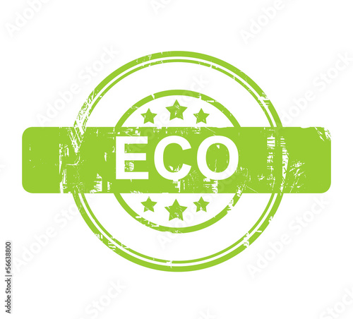 Green Eco stamp with stars