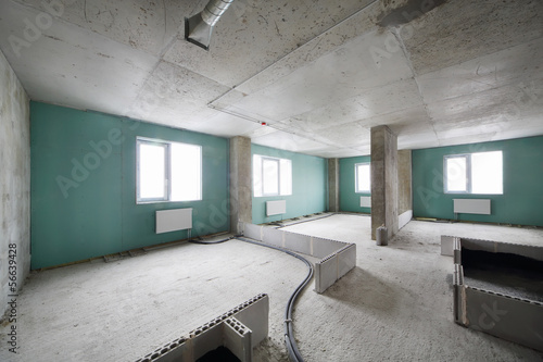 New apartment in building under construction without finishing