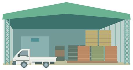 倉庫と軽トラック