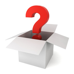 Question sign inside a box