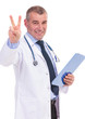 mature doctor making the victory sign