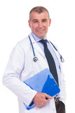 smiling old doctor holding a blue notepad