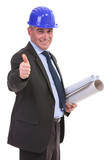 senior engineer showing thumb up ok sign