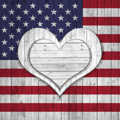 America flag wood background, heart