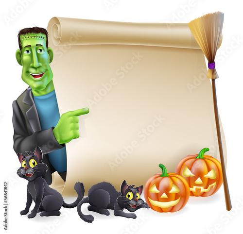 Halloween Scroll with Frankenstein