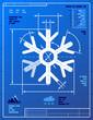 Snowflake symbol like blueprint drawing. Vector illustration