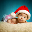 little cute baby with santa hat