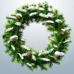Christmas wreath with pinecones and snow without decoration