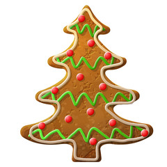 Gingerbread christmas tree decorated colored icing